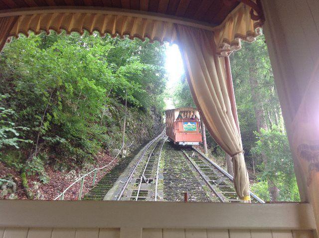 Subiendo con el funicular de Heimwehfluh