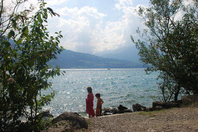 Baño en el lago de Thun