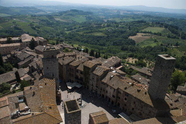 Vista de la plaza de la Cisterna desde la Torre Grossa