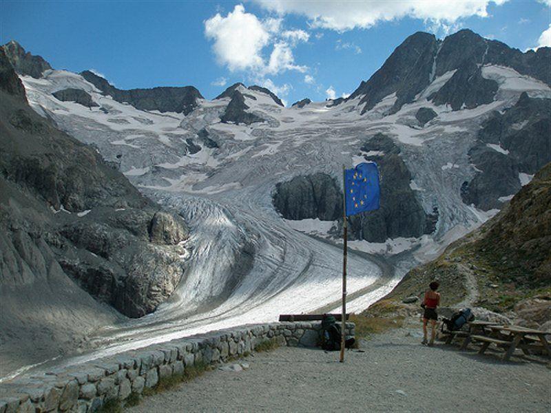 Glaciar Pilatte desde terraza refugio