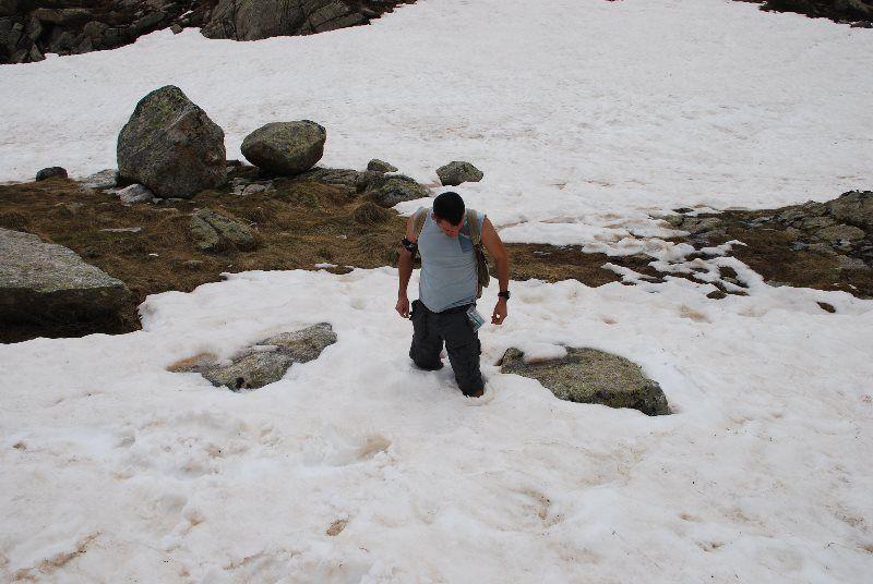 Hundido en la nieve