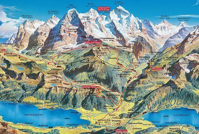 Mapa de Alpes de Interlaken, cortesía de Jungfraubahnen