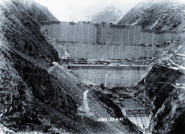 Construcción de la presa de la Gran Dixence
