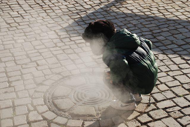 Vapor de las aguas termales de Baden Baden