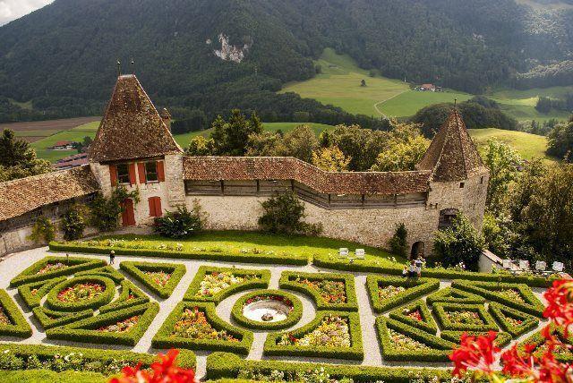Jardines estilo francés de Gruyères