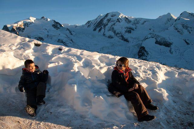 Divertido atardecer invernal en Gornergrat