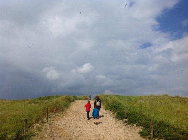 Camino hacia las playas de dunas de Ameland